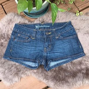 Bullhead Dark Wash Stretch Shortie Shorts Size 0